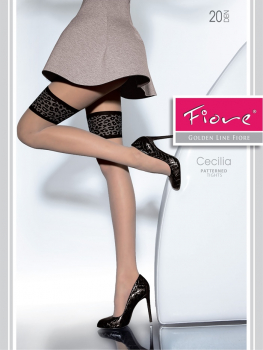 Fiore Cecilia - Tights - Shiny - Fancy Leopard Pattern - 20 DEN