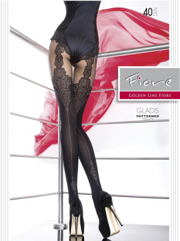 Fiore Tights Gladis - Suspendertights Imitation Pattern - 40 DEN